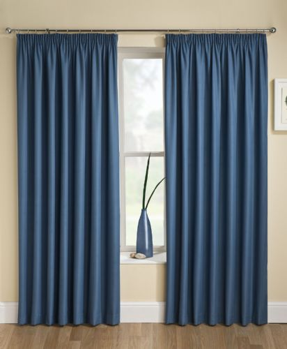 Stylish Textured Jacquard Blue Pencil Pleat Tape Top Thermal Interlined Blockout Pair Of Curtains